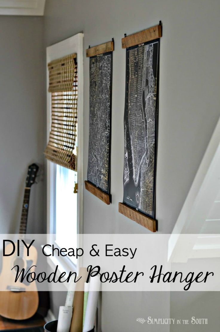 Make easy and cheap wooden poster hangers from salvaged wood lath strips. You also need a staple gun, D-rings, and Restoration Hardware inspired lithograph maps.