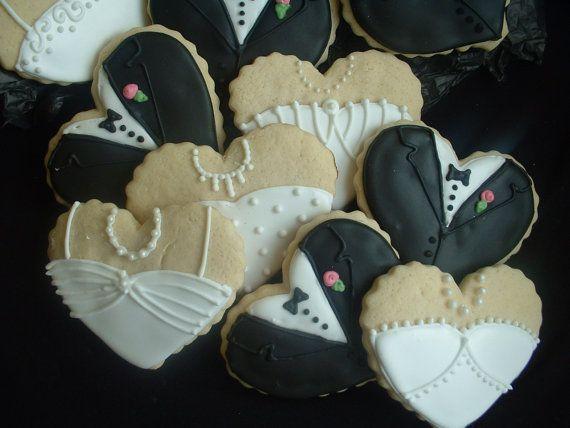 Wedding Cookies - Bride and Groom Heart cookies - 1 dozen