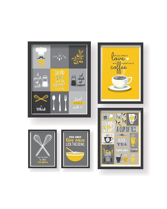 mustard yellow gray kitchen poster set yellow gray kitchen | Кухня
