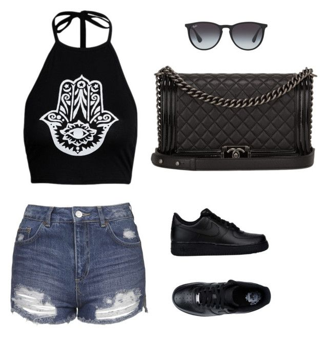 """""""Black"""" by prosvetovajane ❤ liked on Polyvore featuring Topshop, NIKE, Chanel and Ray-Ban"""