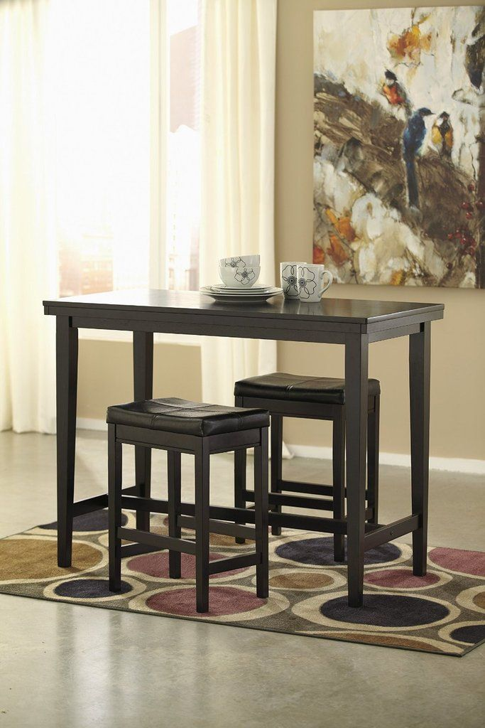 Kimenta Dark Brown Wood Dining Room Counter Table U0026 Two Dark Brown  Upholstered Barstools Part 91