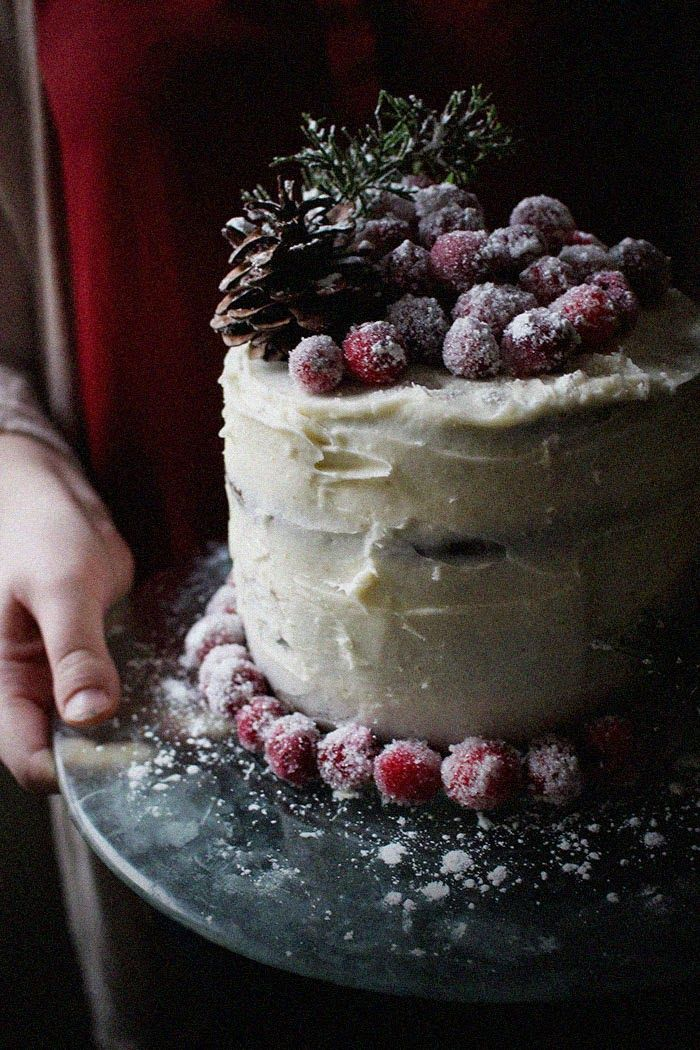 Gingerbread Layer Cake with Cream Cheese Frosting & Sugared Cranberries//