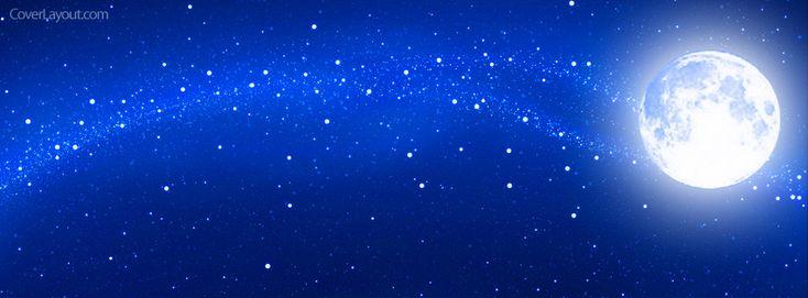 Blue Night Sky Stars Full Moon Facebook Cover CoverLayout.com