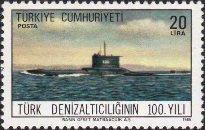 Stamp: Submarines (Turkey) (Submarines 1v) Mi:TR 2746
