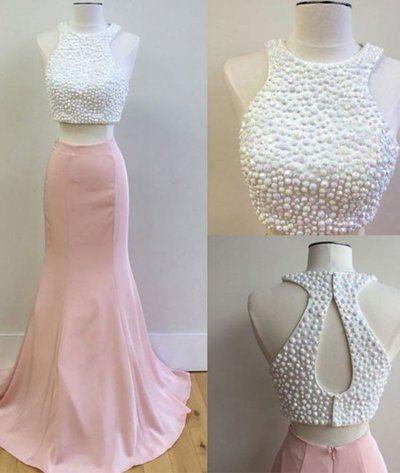 Two Piece Prom Dresses, 2017 Prom Dresses, Memraid Long Prom Dresses, Pink Prom Dress with White Pearls