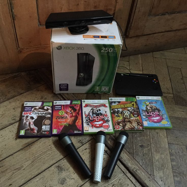 Xbox 360 250gb in box plus kinect, u-draw tablet, microphones and games joblot