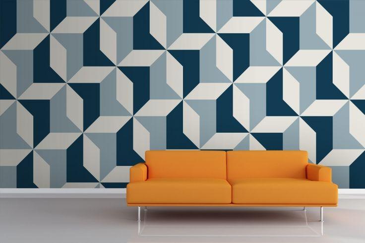 Muurschildering abstracte blauw geometrische behang 3d behang mruals in gratis…