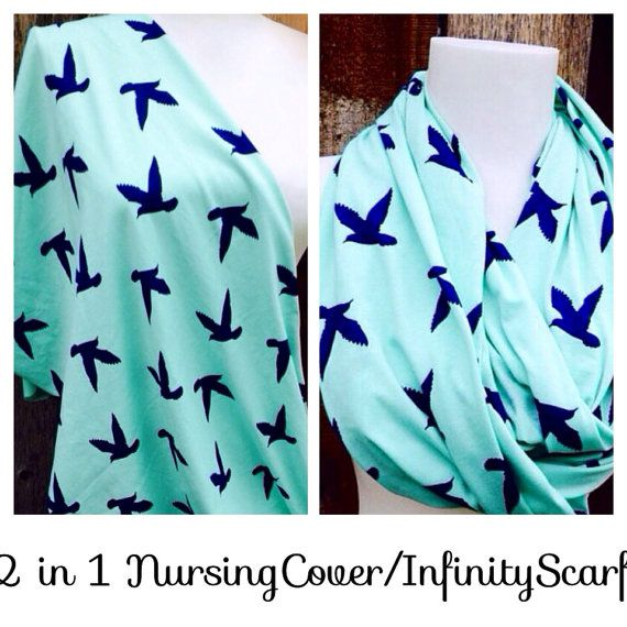 Nursing Scarf,  Mint Dove Nursing Cover, Nursing infinity scarf, Popular Scarf, Best Scarf, New Mom, anew baby, Baby shower, by Phatcatpatch, $15.49
