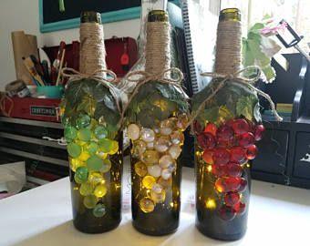Decoración de botellas, uva uva vino, decorativas botellas de vino, uva regalos de amante amante, vino, regalos para la decoración de la cocina de los amantes del vino, uva