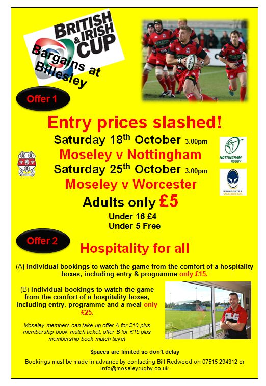 Watch Moseley Rugby this weekend - special offers