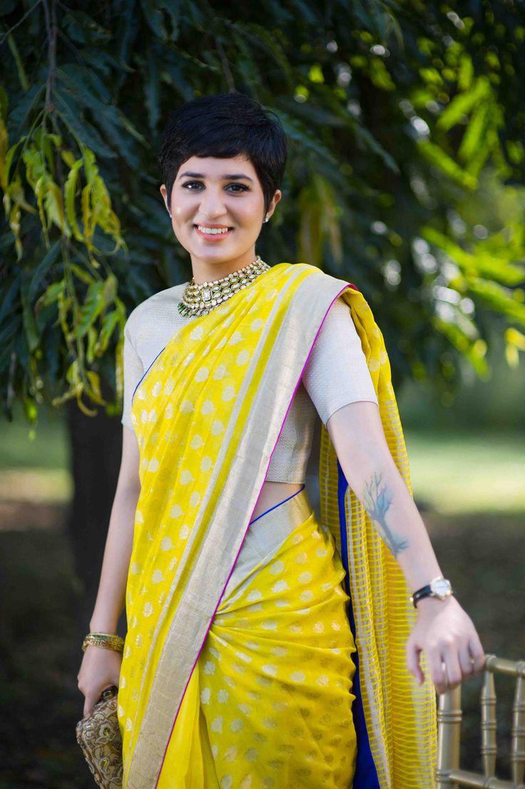 A Raw Mango 'Mogra' sari worn by a bridesmaid for Bridelan shoot, styled by Nisha Kundnani of Bridelan
