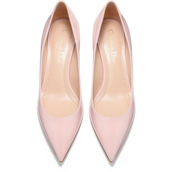 High-heeled shoe in pink patent calfskin leather - Dior ❤ liked on Polyvore featuring shoes, calfskin shoes, pink patent shoes, patent shoes, high heeled footwear and pink shoes