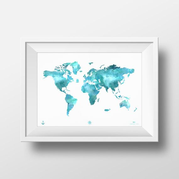 2 PRINTS World Map Print. Vintage Inspired Map. от MaximusType