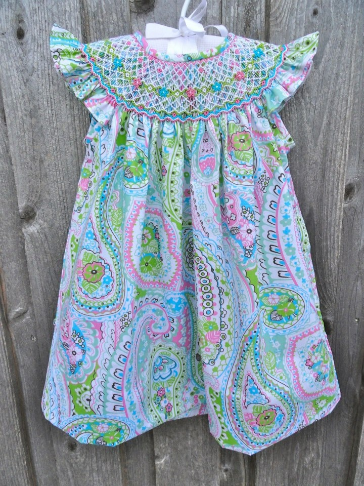 Already on its way to Mia's closet!! Spring Paisley Smocked Dress from Smocked Auctions
