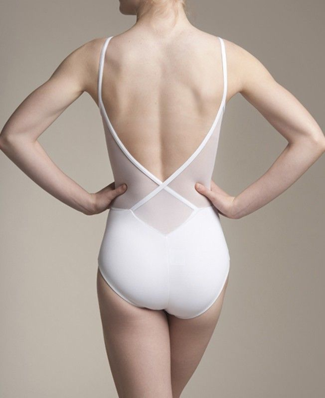AinslieWear Allegra - Low Back Leotard with Mesh Panels