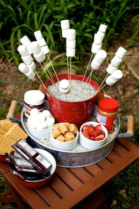 S'mores Bar for Outdoor Party | Memorial Day or 4th of July (a s'mores station with peanut butter?! why did I not think of that?!)