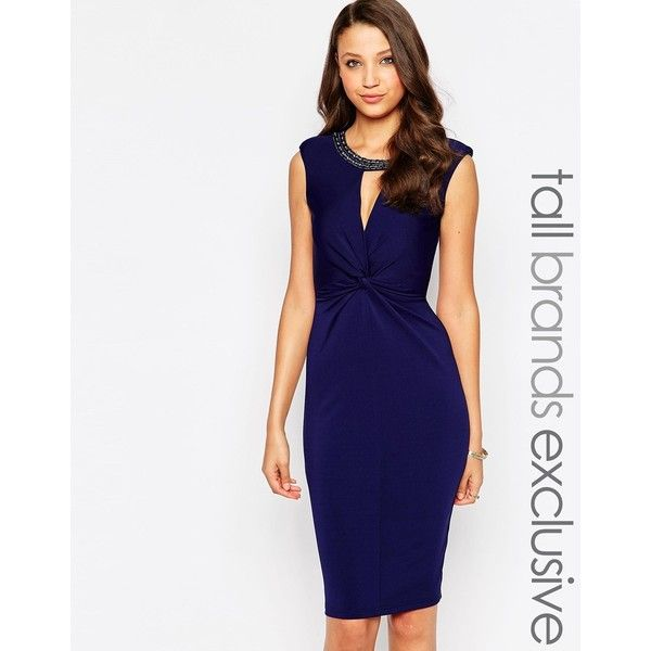 Little Mistress Tall Embellished Pencil Dress With Keyhole ($76) ❤ liked on Polyvore featuring dresses, navy, bodycon dress, navy white dress, white dress, navy cocktail dress and white body con dress