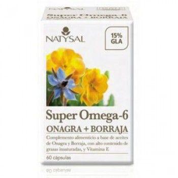 Natysal Super Omega 6 Onagra+Borraj.  Usos: -Anti-inflamatorio, en enfermedades como artritis o artrosis. -En sistema inmune. - En la desecación cutánea,  envejecimiento  y la hidratación,estrías. eccemas y erupciones, afecciones de la piel . - En  síndrome prementrual  -  En  la menopausia. -  Trastornos prostáticos . -  Reduce los niveles de colesterol, impide la formación de coágulos y reduce la hipertensión, contrinuye a un menor riesgo de trombosis.