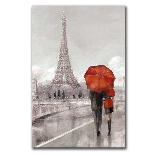 Printed Canvas Art Eiffel Tower Amp Red Umbrellaprinted