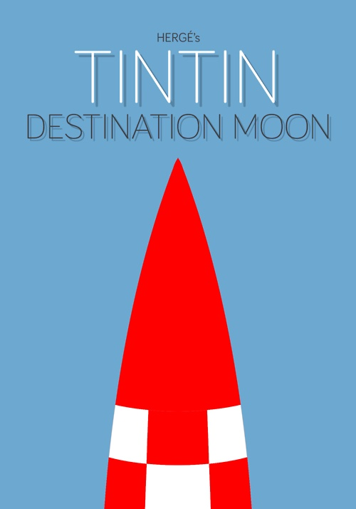Simplistic version of a comic cover for Tintin - Destination Moon. (Original).
