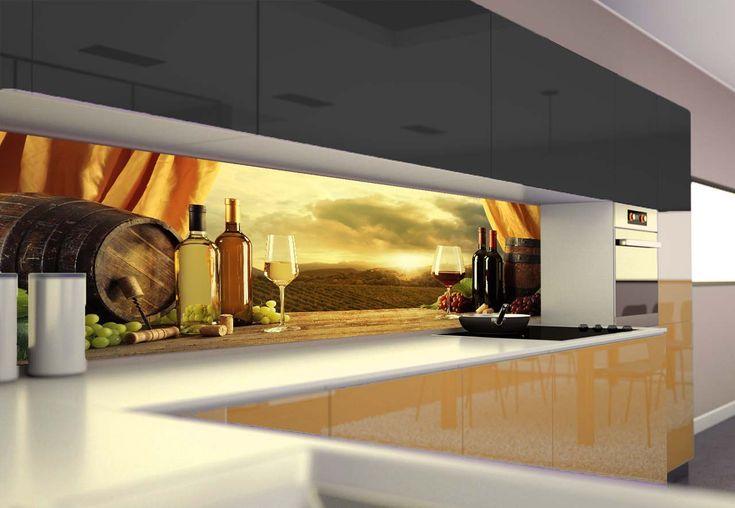 Panel szklany do kuchni BUTELKI WINA