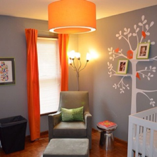 Love this grey + orange for a nursery