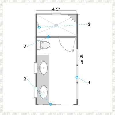 illustration of floor plan after small bath remodel **pocket door