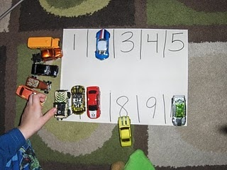 A great number identification activity...could use dominoes for cars too
