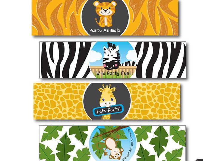 Safari Water Bottle Labels Jungle Water Bottle Wrap