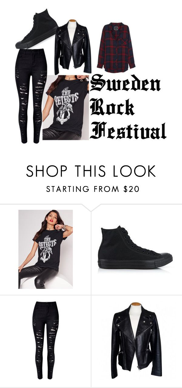 """Sweden Rock Festival (Girls)"" by gcdonuts on Polyvore featuring Missguided, Converse, WithChic, Alexander McQueen and Rails"