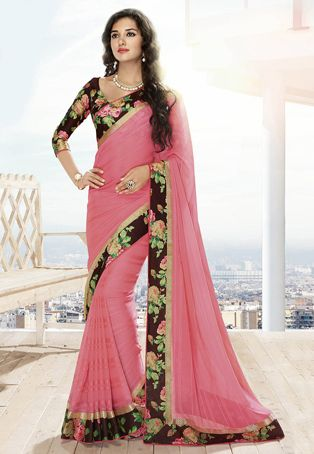 Old Rose Faux Chiffon Saree with Blouse