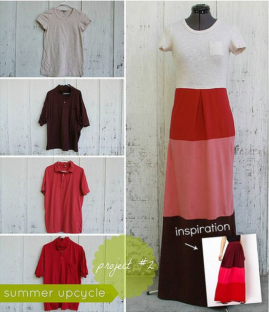 Wow! Kristina J shares the how-tos to transform a favorite T shirt, plus 3 men's XL polo shirts from Goodwill, into a color block maxi dress.