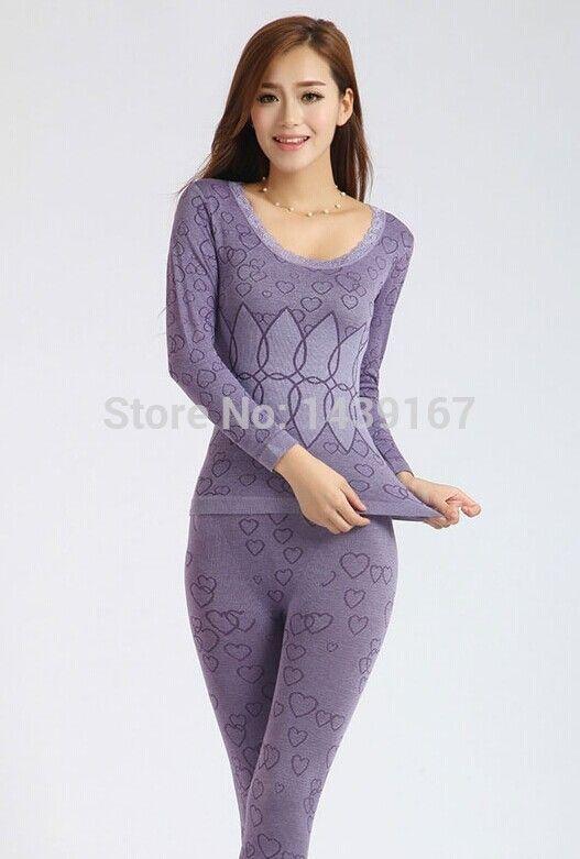 Comercio al por mayor 2017 mujeres del invierno ropa térmica seamless underwear pijamas mujeres ropa de dormir delgada bodycon underwear