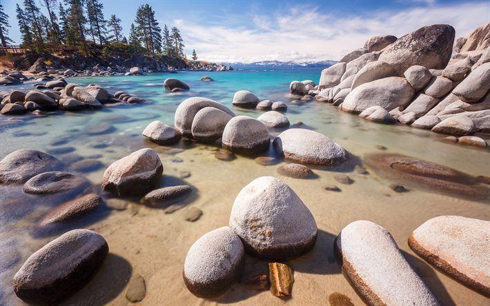 Scarica sfondi Lago Tahoe, Costa, lago di acqua dolce, rocce, Sierra Nevada, California, USA