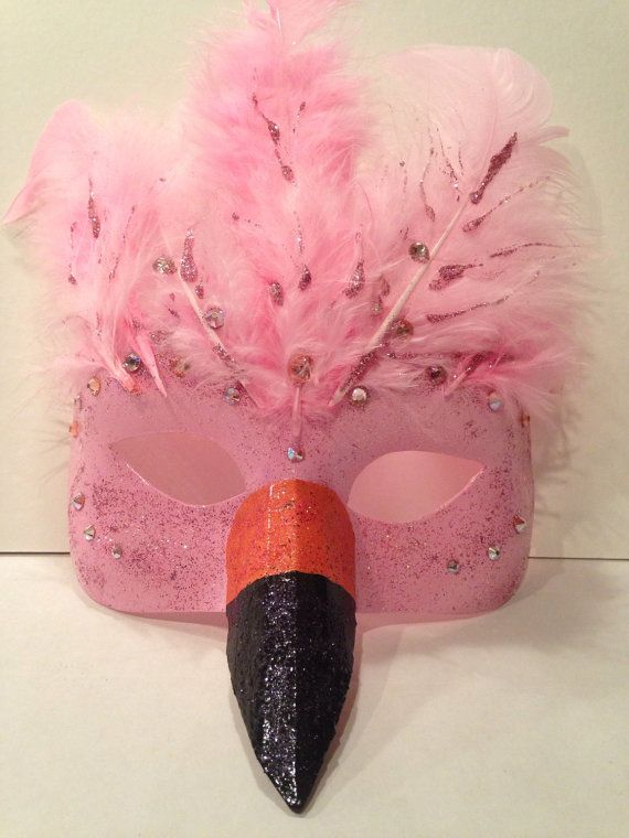 Flamingo Mask by PaintedFacesOnParade on Etsy