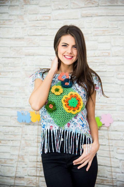 bluza hippie cu franjuri ,flori , croset