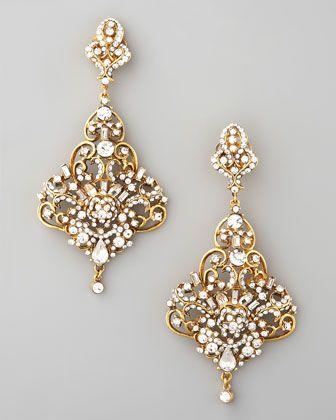 Jose & Maria Barrera Gold & Crystal Chandelier Earrings - Neiman Marcus