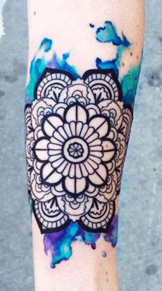 Watercolor Mandala Tattoo - MyBodiArt.com