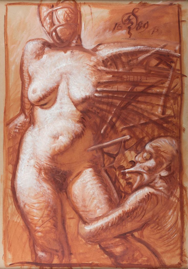 FRANCISZEK STAROWIEYSKI (1930 - 2009)  AKT   gwasz, papier naklejony na płótno / 100 x 70 cm  sygn. i dat. p.g. monogramem wiązanym oraz 1689