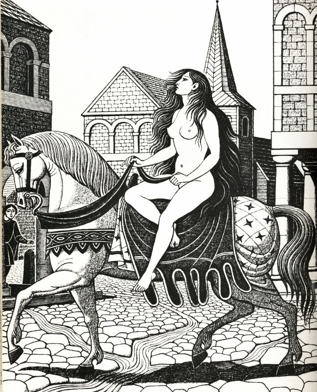 Lady Godiva - illustration by Eric Fraser from Folklore Myths and Legends of Britain
