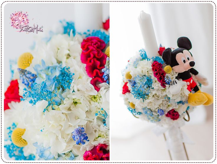"""Mickey Mouse"" christening candle www.facebook.com/faitamain www.simplyhappy.ro"