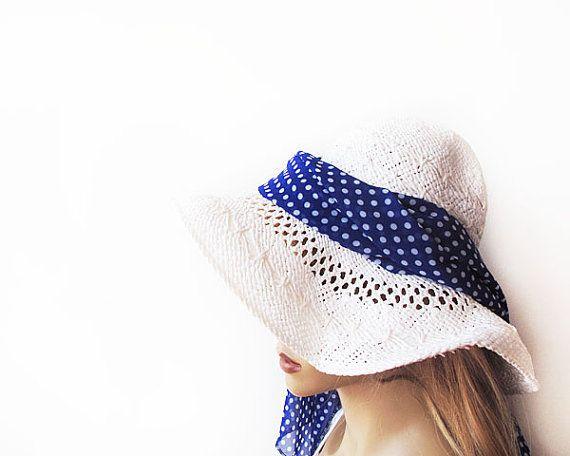 Dark Blue Scarf Polka Dot Summer Scarf Fashion by aynurdereli, $24.00