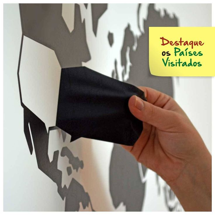 Adesivo de Parede Mapa-Múndi com Países Destacáveis M (100x60cm) ADE001 - 184,00