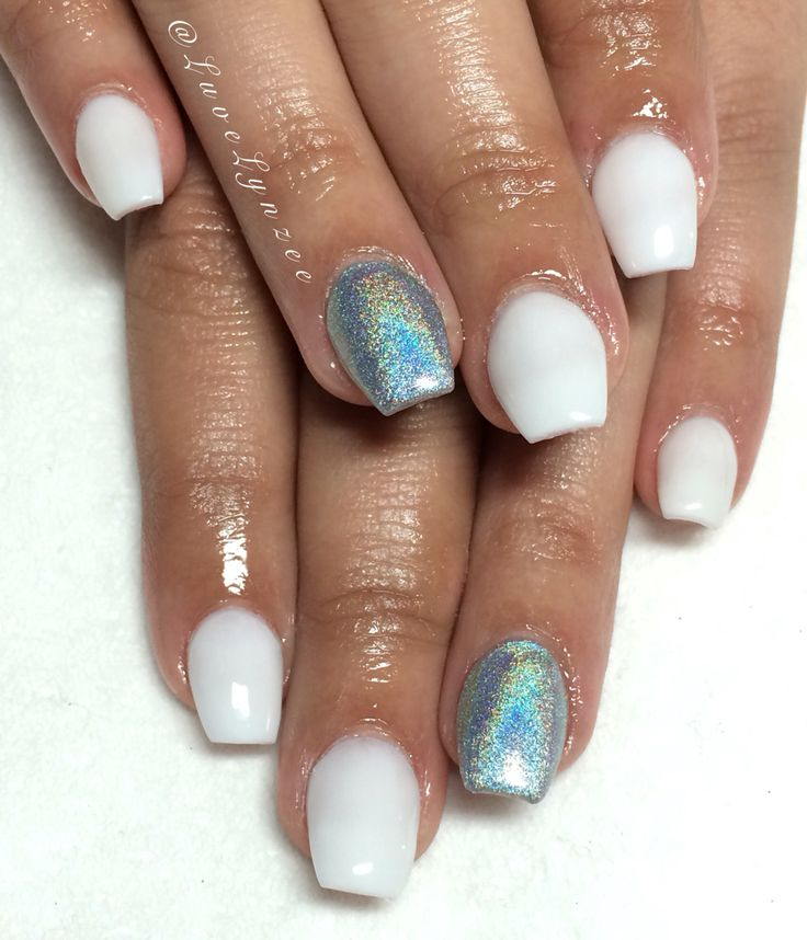 Nails, short coffin nails, holographic nails, white nails, acrylic nails, clean nails, cute nails, nails by Lynzee, Visalia nails.