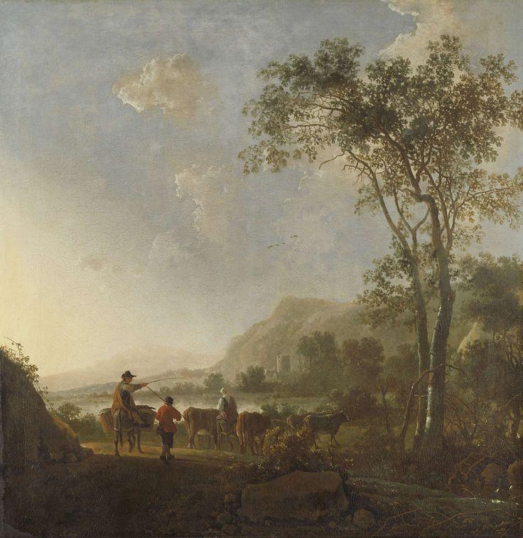Landschap met herders en vee, Aelbert Cuyp, , 1650 - 1660