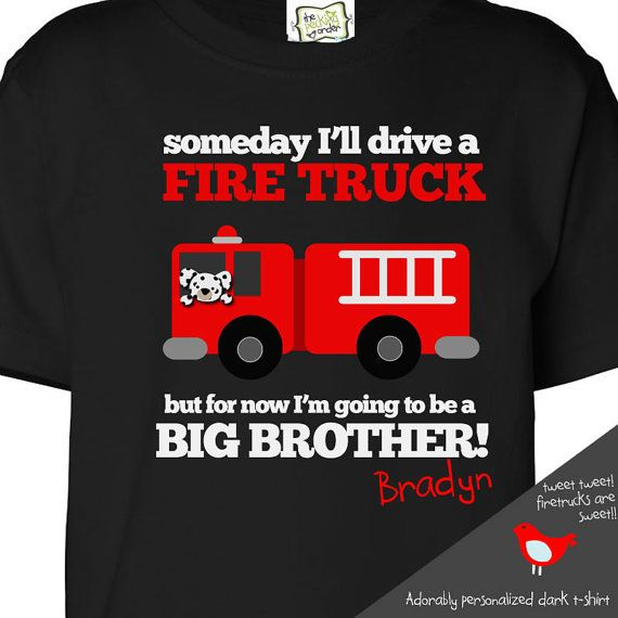 big brother shirt firetruck FRONT/BACK DARK t shirt perfect pregnancy announcement for the fireman big brother to be on Etsy, $26.50