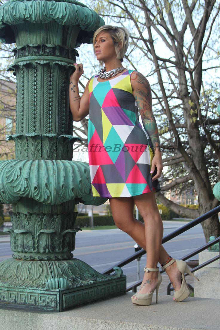 Geometric Sleeveless T-Shirt Dress