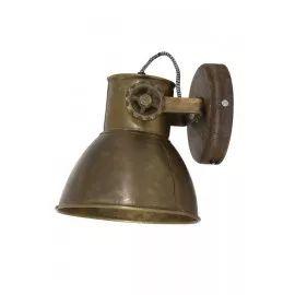 Wandlamp 18x20x19 cm ELAY hout weather barn+antiek brons