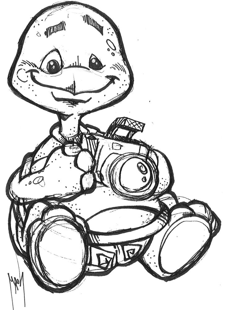 Turtle Hold Camera Coloring Page Coloring for kids