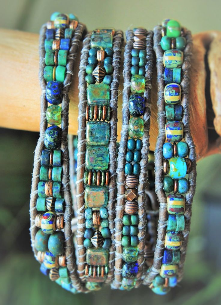 TEAL Colored GLASSES 4 Wrap natural Gray Leather Bracelet>blue-green CHRYSOCOLLA gemstone & Czech Picasso Beads/Teal Tiles+Antique Copper by BraceletsofBlueRidge on Etsy